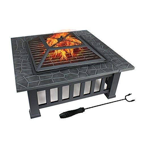 Fire Pit with BBQ Grill Shelf,Outdoor Metal Brazier Square Table Firepit Garden Patio Heater/BBQ/Ice Pit with Waterproof Cover (3 in 1Fire Pit Square