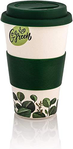 Premium Bambus Kaffeebecher to go | 400ml | Coffee to go Becher mit Deckel und Silikonmanschette | spülmaschinenfest | BPA frei | wiederverwendbar | umweltfreundlich & recyclebar (Natur/Grün)