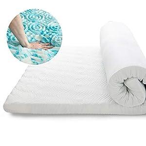 Bedsure Topper Colchón Viscoelástico 90x190x7cm de Memory Foam - Sobrecolchon Antiestático con 1 Funda Extraíble y Lavable - Cubrecolchon Espuma con Efecto Memoria Hipoalergénico