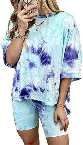 Charm4you Las Mujeres Tie-Dye Conjuntos de Pijama,2020 Nuevo Pijama casero de Media Manga de Moda Tie-Dye-Blue_S,Tie Dye Conjunto de Pijamas Ropa de