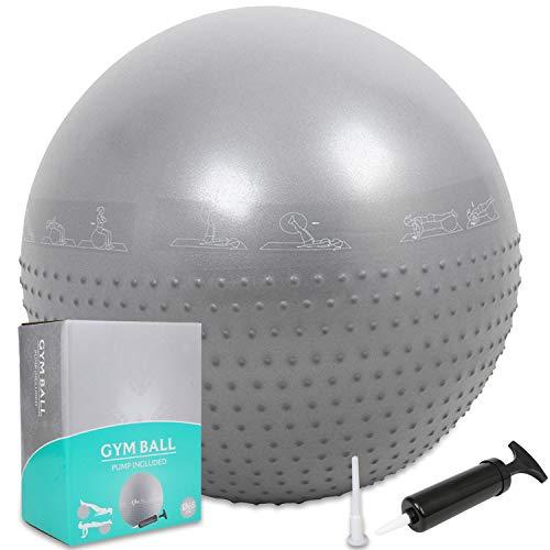 Palla da ginnastica/Palla Fitness,GYMBOPRO palla da ginnastica con pompa rapida,palla da yoga sedie da scrivania a casa palla equilibrio per fitness pilates palestra di yoga(75 cm, Nero)