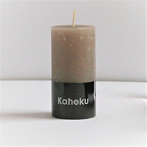 Kaheku Cylinderkerze Schlamm Taupe d5h10 Rustic Stumpenkerze durchgefärbt