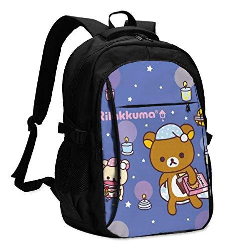 Rucksack,Rilakkuma Korilakkuma Kiiroitori Chairoikoguma Anime Schultasche, Hilfreiche Schulbuchtaschen Für Reisen Im Freien,46x34x21cm