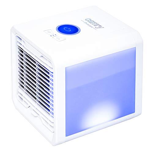 CAMRY CR 7321 Mini Air Cooler, leise Klimaanlage, 3in1, Luftkühler, Luftreiniger, Luftbefeuchter, Ventilator, Mobiles Klimagerät mit 3 Geschwindigkeitsstufen, LED-Beleuchtung