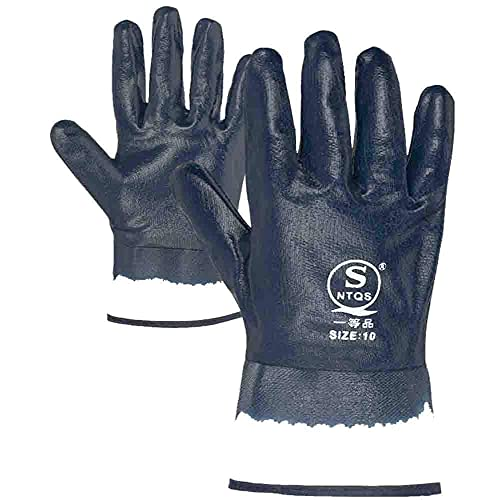 Oil Gloves for Men,Safe Wide Cuffs for Petrochemical Transport Workers' Gloves (4 pairs Blue)