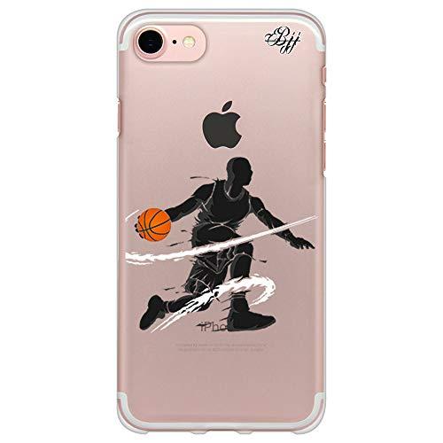 BJJ SHOP Funda Slim Transparente para [ iPhone 7 / iPhone 8 ], Carcasa de Silicona Flexible TPU, diseño : Jugador de Baloncesto regate