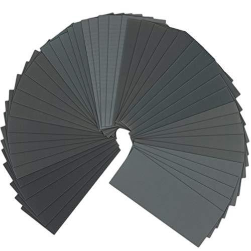 BESTOMZ 90pcs 40 a 3000 surtido de papel de lija Grit seco húmedo para lijado automotriz acabado de muebles de madera