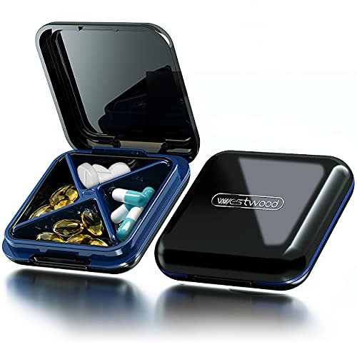 DUOUPA Tablettenbox met 4 vakken, draagbaar, afneembare pillendoosjes, waterdichte medicijnbox voor reizen en dagelijks…