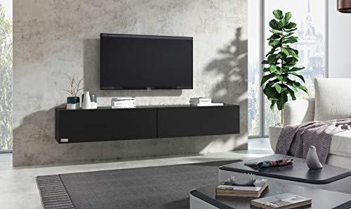 Wuun® 280cm/Schwarz-Matt (Korpus Schwarz-Matt)/8 Größen/5 Farben/TV Lowboard TV Board hängend Hängeschrank Wohnwand/Somero