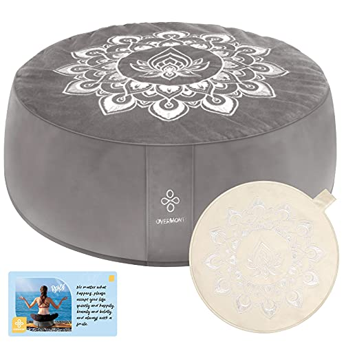 """Overmont Meditation Cushion Large Velvet Floor Pillow with Extra Cover 16""""x16""""x5.2"""" for Sitting on Floor, Zafu Accessories Decor Buckwheat Yoga Cushion"""