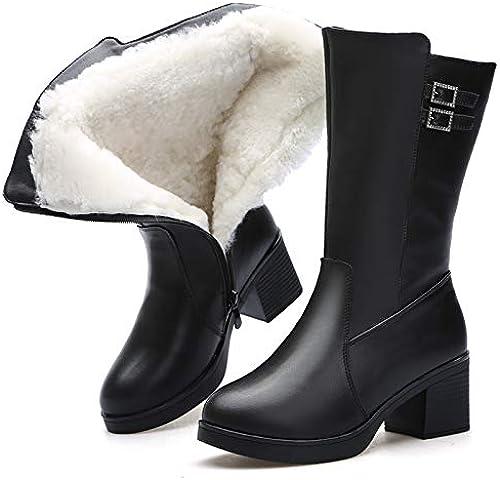 Shukun Bottes Bottes d'hiver épais Bottes en PU pour Femmes épais avec des Bottes en Coton Chaudes pour Femmes Bottes épais pour Femmes Bottes en Coton