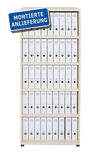 Dila GmbH Regal mit 5 Ordnerhöhen / 5 Fächer Holzregal Regal Bücherregal Standregal Aktenschrank Schrank Büromöbel Büroeinrichtung Aufbewahrung Akten (Ahorn)