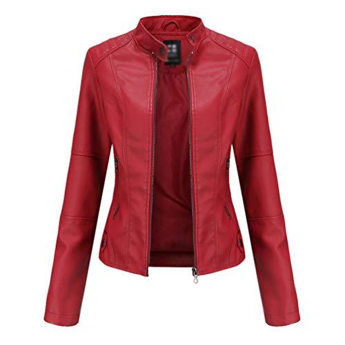 Kaiyei Chaquetas de PU Cuero Sintetico Mujer Slim Fit Fina Cuello Alto Primavera Otoño Manga Larga Elegante Jacket Cortas Cazadora Biker con Cremalleras Rojo 3XL