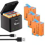 Vemico GoPro Hero 9 Chargeur de Batterie 3 Piles de Remplacement 1800mAh avec kit de Chargeur USB 3 canaux LED Type-C pour Gopro Hero 9 Black (entièrement Compatible avec l'original)
