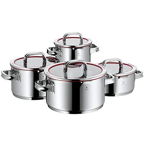 WMF Function 4 - Batería de Cocina, 4 Piezas Acero Inoxidable, 1 Olla Grande de 5.7 L, 1 Olla Mediana de 3.3 L, 1 Olla Pequeña de 1.9 L y 1 Cacerola de 3.4 L, Apta para Todo Tipo de Cocinas