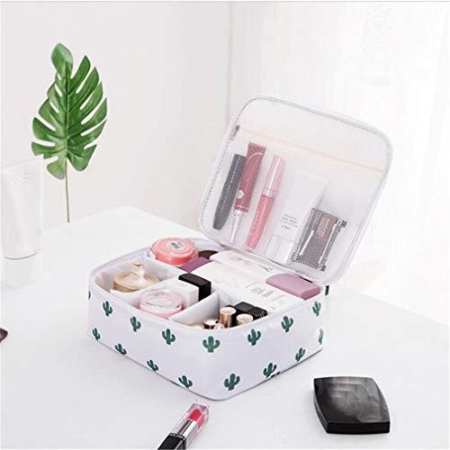 WEIHEEE Sac cosmétique à fleurs carrées avec poignée portable, pochette de maquillage multicolore de grande capacité pour les voyages,Couleur de l'image 2
