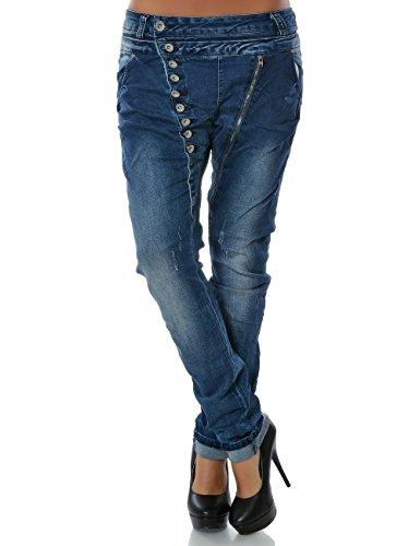 Daleus Damen Boyfriend Jeans Hose Reißverschluss Knopfleiste (weitere Farben) No 14145, Blau, 40