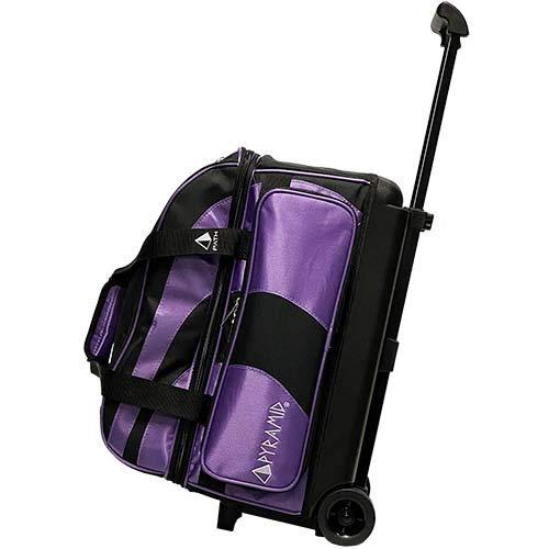 Pyramid Path Deluxe Doppelrolle mit übergroßer Zubehörtasche für Bowling-Tasche, Schwarz / Violett