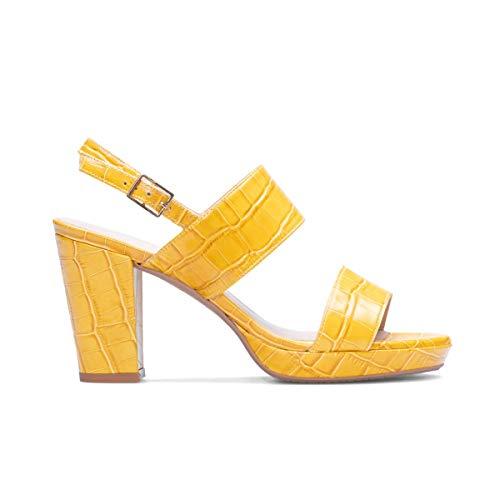 GENNIA - IDARA - Sandalias de Vestir para Mujer en Piel - Cierre con Hebilla al Tobillo - Altura Tacon Ancho 8 cm - Plataforma 2 cm - Moda Tendencia Plataformas - Piel