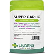 Lindens Super Garlic 6000mg High Strength Capsules   365 Pack   High potency odourless Garlic Extract, equivalent to 6000mg garlic clove in each one a day capsule, standardised to provide 4200_g allicin