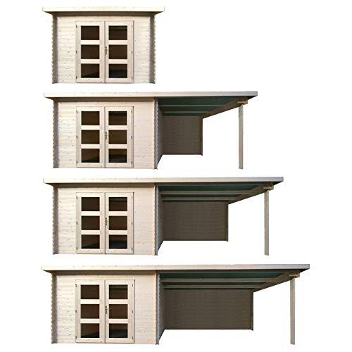 Hori Gartenhaus I Gerätehaus aus Holz I nordische Fichte Natur I Verschiedene Größen und Ausführungen I Miami I Größe 282 x 282 cm