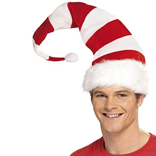 Amakando Lange Weihnachtsmann-Mütze gestreift / Rot-Weiß / Zipfelmütze Weihnachts-Wichtel Geringelt / EIN Highlight zu Weihnachtsmarkt & Weihnachten
