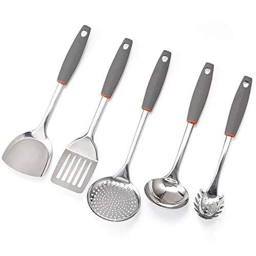 Groove de la pista Juego de 5 Piezas hogar Utensilios de cocina Utensilios de cocina de acero inoxidable Juego de cocinar cuchara de la pala (Color : 01, Size : One size)