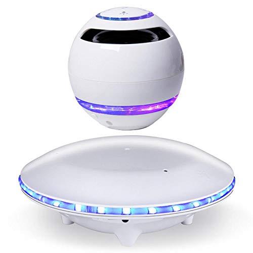 HAHALE Schwebende Lautsprecher, drahtlose Bluetooth-Lautsprecher mit LED-bunten Lichtern 360 Grad drehbaren HiFi Ton HD Aufruf für Bar KTV, Weiß