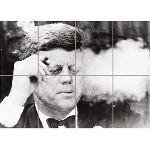 Doppelganger33 LTD Vintage B&W JFK Kennedy Portrait Smoking Cigar Wall Art Multi Panel Poster Print 47x33 inches
