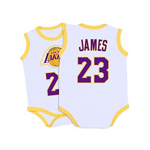 Baby Jersey Summer Warriors Lakers James Romper Camiseta sin Mangas de una Pieza sin Mangas,Yellow+White,59cm