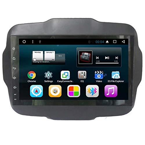 TOPNAVI 9 Pouces vidéo pour Jeep Renegade 2016 2017 Android 7.1 Autoradio Auto Navigation GPS Lecteur stéréo avec Quad Core 16 Go ROM 1 Go de RAM WiFi 3G RDS Lien Miroir FM AM BT Audio