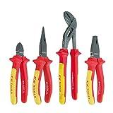 KS HERRAMIENTAS VDE Set alicates, Diagonal-corte/Combinación/nariz/llaves para bombas de agua, 4 piezas 150-250 mm