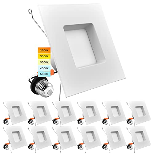 Luxrite 12 Pack 5/6 Inch LED Square Recessed Lighting, 14W=90W, 5 Color Selectable 2700K | 3000K | 3500K | 4000K | 5000K, Dimmable LED Downlight, 1100 Lumens, Wet Rated, Energy Star, IC Rated