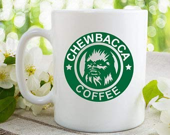 Taza de café Chewbacca Taza de té de café de vidrio de cerámica blanca para Navidad Festival de Acción de Gracias Regalo de amigos
