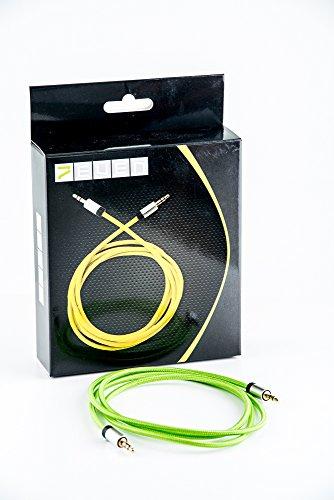 7even aux-kabel, 3,5 mm, mini-aansluiting, met stoflaag voor aux, mobiele telefoon en hoofdtelefoon Groen
