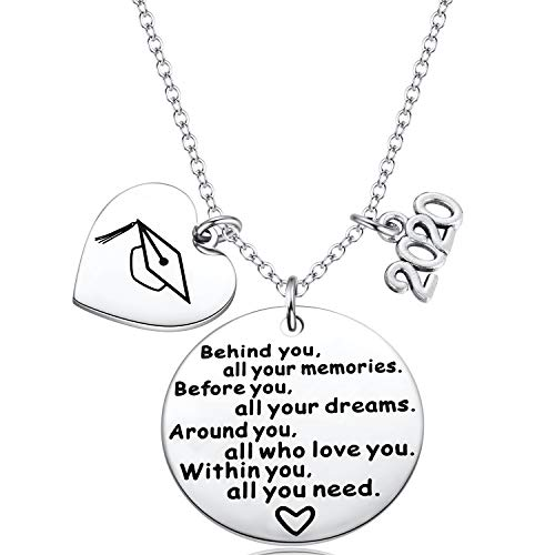 Ralukiia Class of 2020 Graduation Gifts Necklace for Girls Congrats Grad for Her Senior High School College Graduates Jewelry