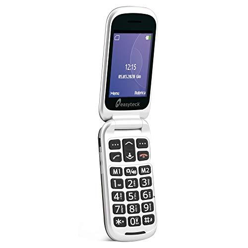 Easyteck Cellulare Senior T129 - Cellulare Anziani Tasti Grandi - Chiusura Flip Con Doppio Display - Bluetooth - Tasto SOS - Cavo Dati Reversibili - Grigio Scuro