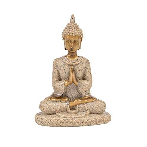 Comimark 1Pcs Handmade Meditation Buddha Statue Sandstone Sculpture Figurine