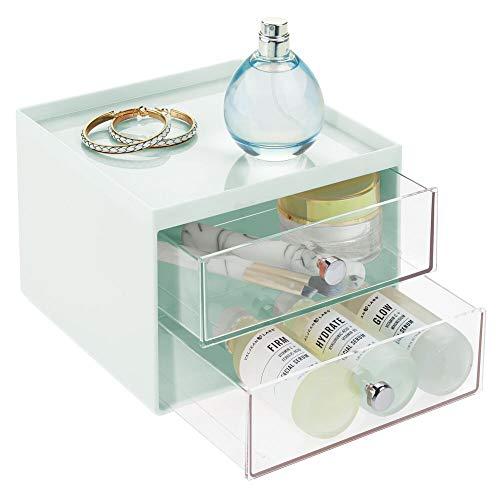 mDesign Make-up Organizer – stapelbare Aufbewahrungsbox mit 2 Schubladen für Mascara, Puder, Nagellack und mehr – Schubladenbox für Badezimmer, Schminktisch oder Büro – mintgrün und durchsichtig