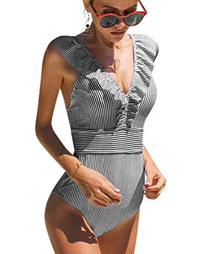 heekpek Traje De Baño Mujer Una Pieza Moda Monokini Push Up Brasileño Rayas Floral Impresión Baño Bañador Traje Bikini Bañadores De Mujer Tallas Grandes Ropa de Baño Cuello en V