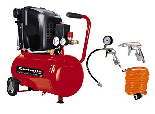 Einhell Kompressor TE-AC 230/24 (1,5 kW, 24 L, Ansaugleistung 230 l/min, 8 bar, ölgeschmiert, große Räder und Haltebügel) + Druckluft Set, 3-teilig passend für Kompressoren (4 m Spiralschlauch)