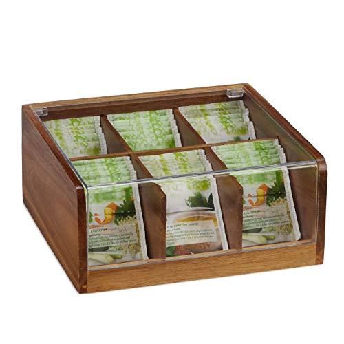 Relaxdays Estuche para bolsitas de té, Seis Compartimentos, con Tapa, 9,5 x 22 x 20,5 cm, Marrón, Natural, 1 Ud