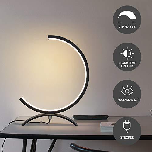 ZMH LED Tischlampe Schwarz Dimmbar 7W Nachttischlampe aus Aluminium 32 * 20CM, Modern Schreibtischlampe in Halbkreisform, 560LM LED Lesenlampe mit 3M Kabel für Schlafzimmer Wohnzimmer Arbeitszimmer