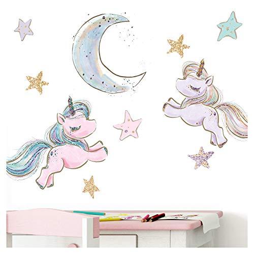Little Deco Wandtattoo Kinderzimmer Einhorn Sterne Mond Lila I 2 A4 Bögen I Baby Wandsticker 2 Einhörner Wandaufkleber Babyzimmer Mädchenzimmer DL214-10