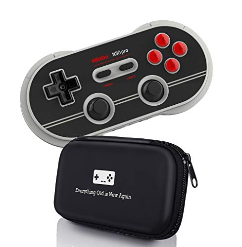 Geek Theory 8Bitdo N30 Pro 2 Controller Bundle (N Edition) - Includes Carrying Case - Updated 2020 Version - Android, Mac, PC, Switch, Amazon Fire TV, NES/SNES Classic