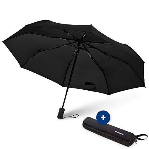SWISSONA 1x Regenschirm in schwarz, Winddicht, leicht & kompakt, Auf-Zu-Automatik inkl. Schirm Tasche | Taschenschirm, Reise-Regenschirm, Outdoor-Regenschirm, Automatik-Regenschirm