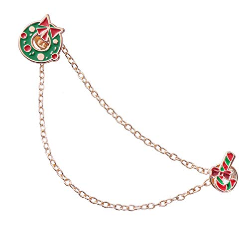 Amosfun Christmas Brooch with Chain Drop Dangling Brooch Pin Breastpin Sweater Guard Clip Dainty Lapel Pins Dress Accessories Jewelry Birthday Christmas (Garland with Crutch)