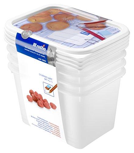 Rotho Domino 4er-Set Vorratsdosen , Kunststoff (BPA-frei), weiss mit beschreibbarem Deckel, 4 x 1 Liter (15,7 x 11,8 x 10 cm)
