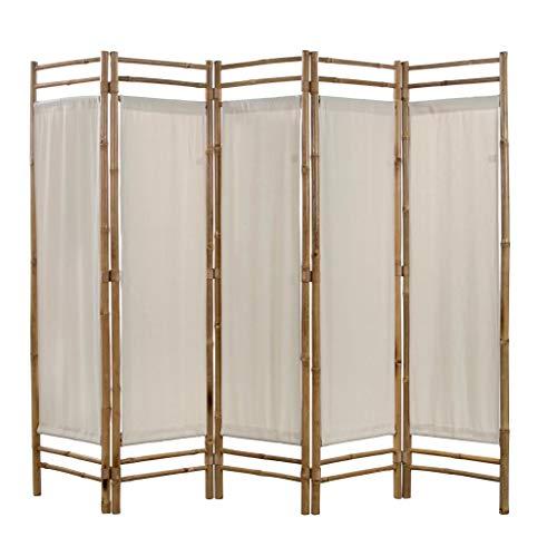 UBaymax Paravent Raumteiler Trennwand 5-teiliger aus Tannenholz, Faltbar Holz Spalier Raumtrenner Wandschirme Sichtschutz für Wohnung, Wohnzimmer, Terrasse, Balkon, Garten