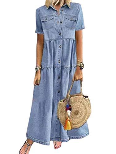 Tomwell Jeanskleid Sommerkleid Damen Jeans Kleider V-Ausschnitt Kurzarm Strandkleider Einfarbig A-Linie Kleid Boho Knielang Kleid Denimkleid B Blau XS
